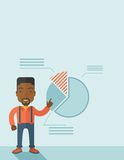 Young man with his financial pie chart. A young black guy represents and share his business financial pie chart. Teamwork concept. A contemporary style with Stock Images
