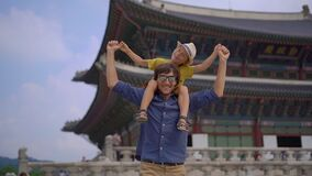 Young man and his little son visit ancient palace in Seoul, South Korea. Travel to Korea concept. Slowmotion shot