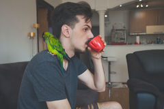 Young man with his pet parrot drinking coffee Stock Image