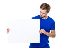 Young man hold with banner Stock Images