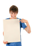 Young Man hold Blank Board Stock Photo