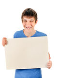 Young Man hold Blank Board Royalty Free Stock Images