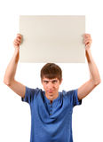 Young Man hold Blank Board Stock Images