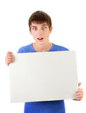 Young Man hold Blank Board Royalty Free Stock Photo