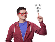 Young men hold finger on abstract idea lamp. Stock Photography