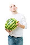 Young man hold watermelon Royalty Free Stock Image