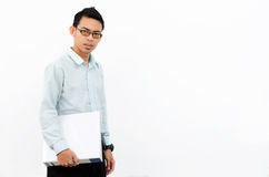 Young man hold white file Royalty Free Stock Image