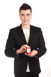 Young man holdin red box with ring Royalty Free Stock Images