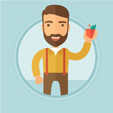 Young man holding apple vector illustration. royalty free illustration