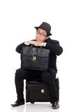 Young man holding bags isolated on the white Royalty Free Stock Photography