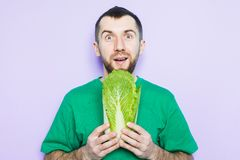 Young man holding Beijing napa cabbage in his hands. Silly face expression. Light purple background royalty free stock photos