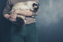 Young man holding a big cat Royalty Free Stock Photography