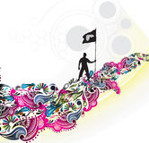 A young man holding a black flag with space of you. R text, vector illustration, No mesh in this Vector Royalty Free Stock Image