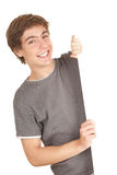 Young man holding blank billboard Royalty Free Stock Photography