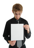 Young man holding blank paper Royalty Free Stock Images