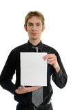 Young man holding blank paper Royalty Free Stock Image