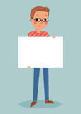 Young man holding blank sign Royalty Free Stock Images