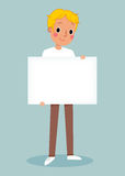 Young man holding blank sign. Illustration of smiling young man holding white blank sign Stock Photo