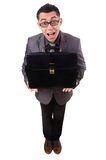 Young man holding briefcase isolated on white Royalty Free Stock Photo