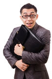 Young man holding briefcase isolated on white Royalty Free Stock Image