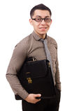 Young man holding briefcase isolated on white Stock Images