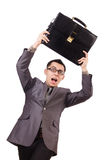 Young man holding briefcase isolated on white Stock Photos