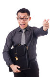 The young man holding briefcase isolated on white Royalty Free Stock Image
