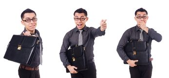 The young man holding briefcase isolated on white Stock Photos