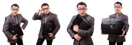 The young man holding briefcase isolated on white Stock Photography