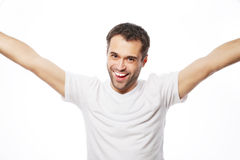 Young man holding camera and making selfie Royalty Free Stock Photos