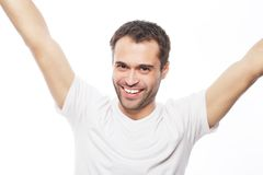 Young man holding camera and making selfie Stock Photography