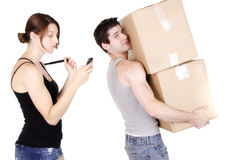 Young man holding cardboard box Stock Images
