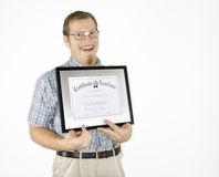 Young man holding certificate. Royalty Free Stock Image