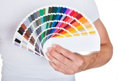 Young man holding color palette Royalty Free Stock Images