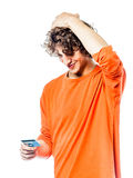 Young man holding credit card portrait Stock Image