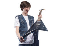 Young man holding electric guitar Royalty Free Stock Photos