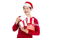 Young man holding gift box Royalty Free Stock Image