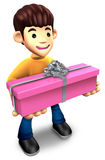 Young man holding a gift box long Royalty Free Stock Photography