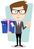 Young man holding a gift, vector illustration Stock Images