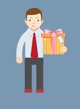 Young man holding a gift, vector illustration Royalty Free Stock Images