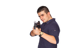Young man holding gun Stock Photos