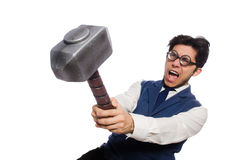 Young man holding hammer isolated on white Royalty Free Stock Photos