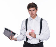 Young man  holding  hat and cards Royalty Free Stock Image
