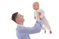 Young man holding his little son isolated on white Stock Images