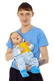 Young man is holding his son - infant Stock Photography