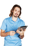 Young man holding ipad notebook Stock Photo