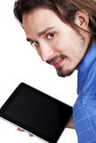 Young man holding ipad notebook Stock Images