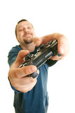 Young man holding joystick Stock Photo