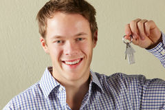 Young Man Holding Keys To First Home Stock Photos
