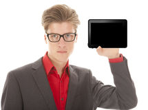 Young man holding a mini tablet isolated Stock Photos